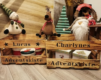 Advent box Advent calendar for filling wood flamed, wine box with name, Christmas box, Christmas decoration, wooden box, gift box Xmas