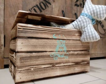 Toy box, toy storage, game box, wooden chest, wooden box with lid, owl, chest, crate, box, storage, Kleiderkisteer