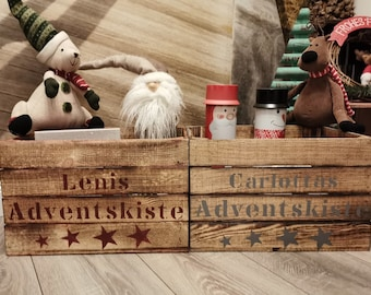 Advent Box Advent Calendar Boxes Gift Box Birthday Gift Personalized,Flamed Wooden Box with Name,Christmas Box xmas