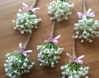 baby/'s breath 1 x Artificial Gypsophilia button holes with stems bound in rope and finished with a pink satin bow