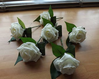 Gents ivory foam rose buttonholes with diamante x 6