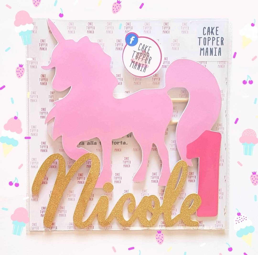 Cake Topper Unicorn Pink Gold Happy Birthday // Name Color