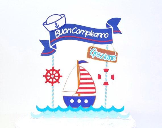 Seemann Cake Topper Geburtstagsbanner Segel Boot Alles Gute Etsy
