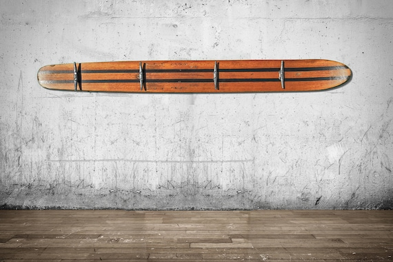 Vintage Old Wood Waterskis Repurposed As A Coat Rack Waterski Etsy Best Old Ski Coat Rack