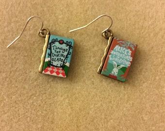 Alice in Wonderland Book Earrings