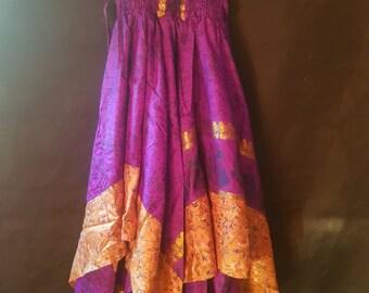 Fairy Dress . Repurposed Sari fabric . Handkerchief Dress