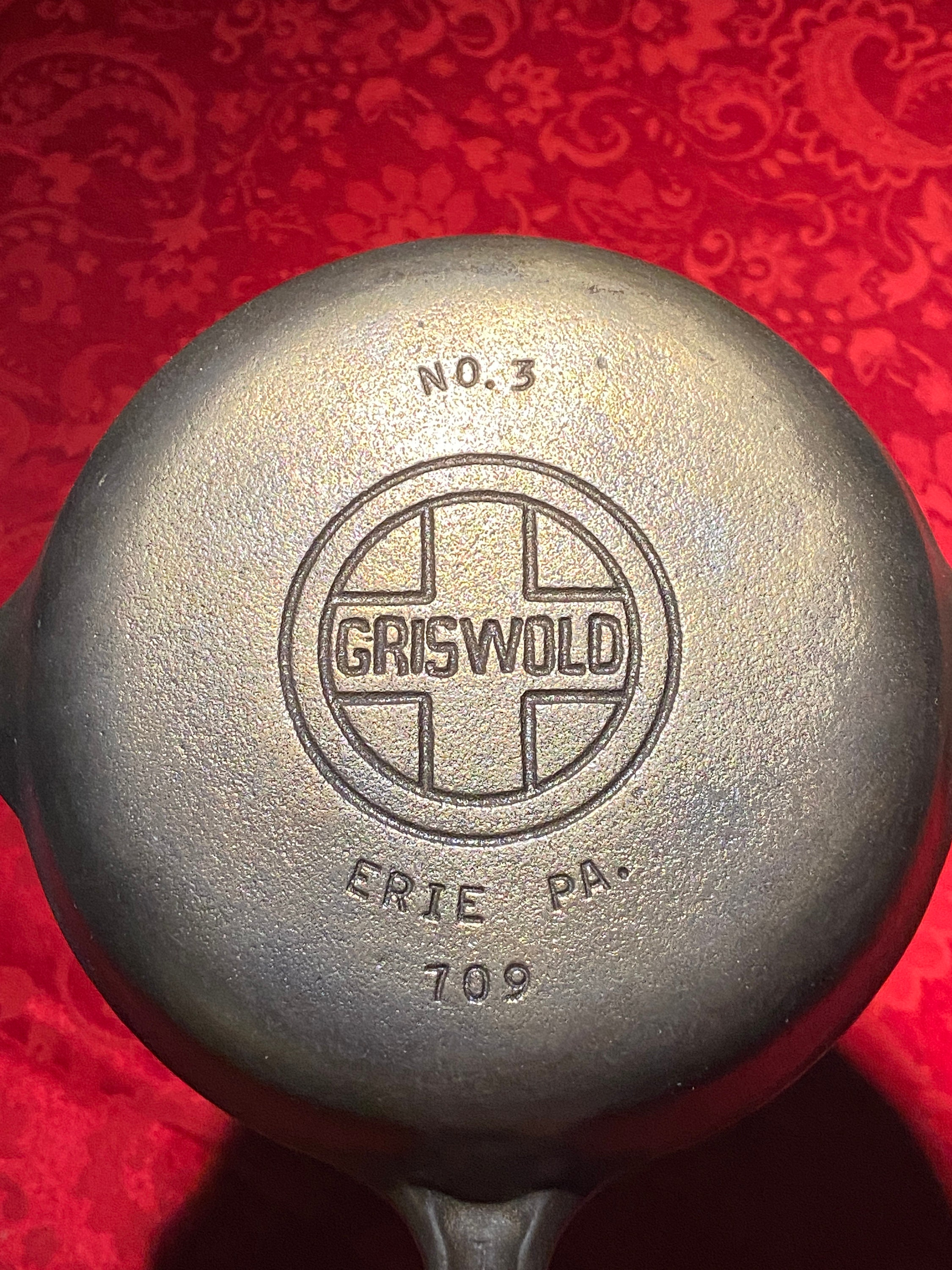 Rare Griswold No 3 Block Logo 3 Erie Pa 709 Skillet With Grooved Handle