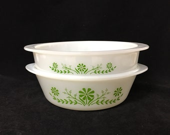 Set of 2 Vintage Glasbake Green Daisy Cookware- J2429 and J514