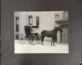 "Vintage 12"" x 10"" Cabinet Card, Parked Horse and Buggy in Side Alley c.1890s"