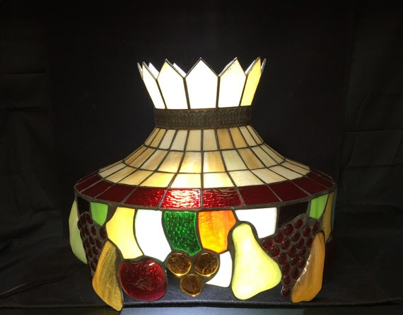 Vintage Leaded Stained Glass Hanging Lamp Shade