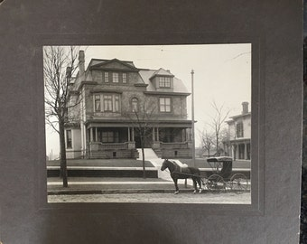 "Vintage 12"" x 10"" Cabinet Card, Parked Horse and Buggy at Residence c.1890s"