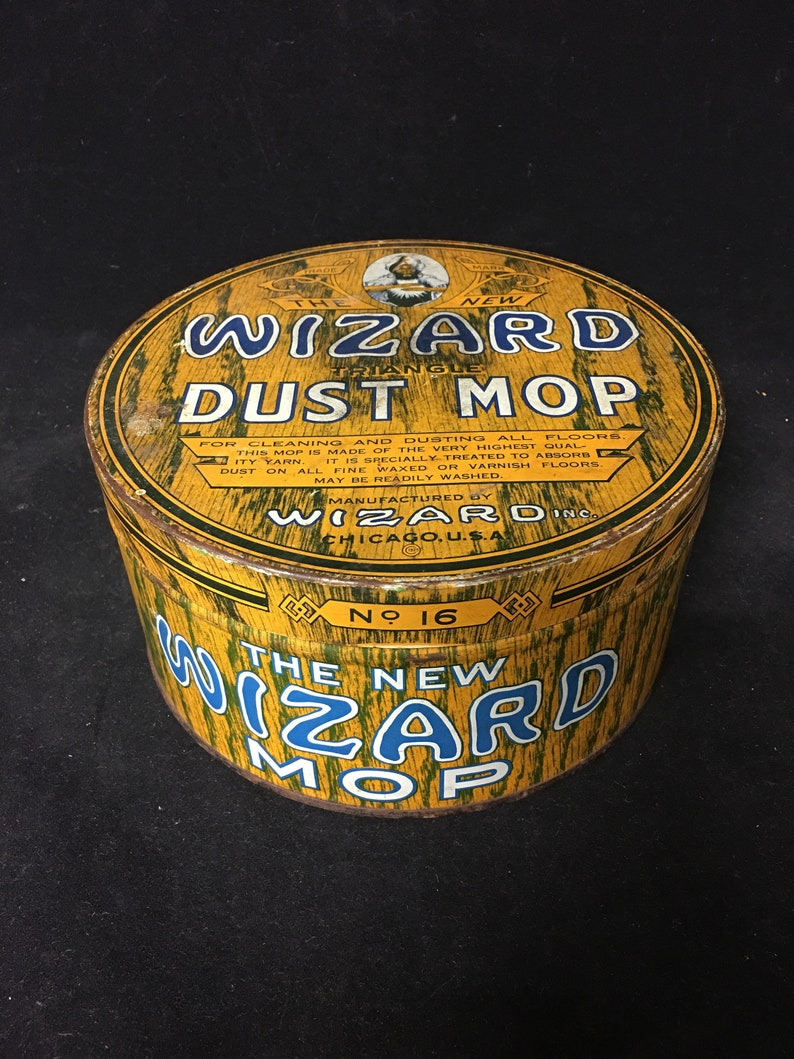 Old Advertising Tin - Wizard Triangle Dust Mop