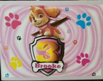 Paw Patrol Skye Birthday Card Girls Cards Customized Personalized