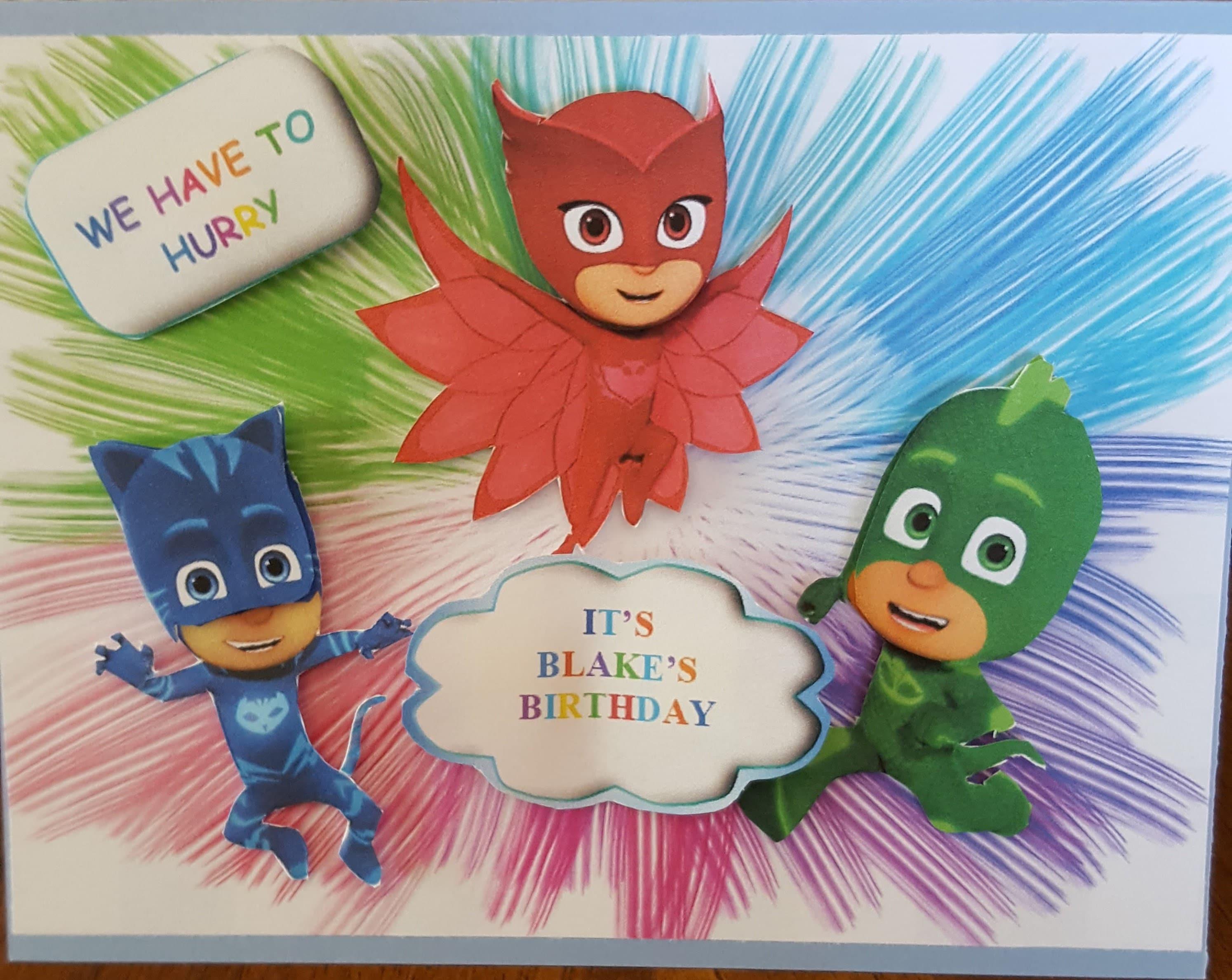 Pj Masks Birthday Card Cards Party