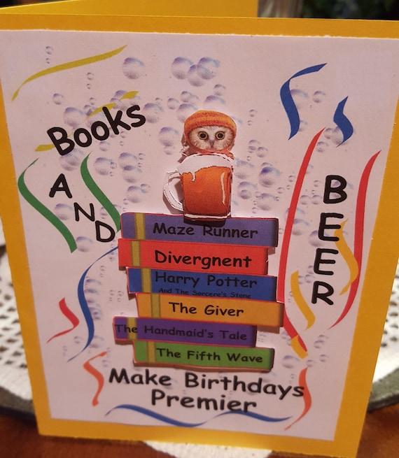 Book Lovers Birthday Card Book Themed Birthday Card Book Themed Greeting Card Story Themed Birthday Card Literature Lover Card