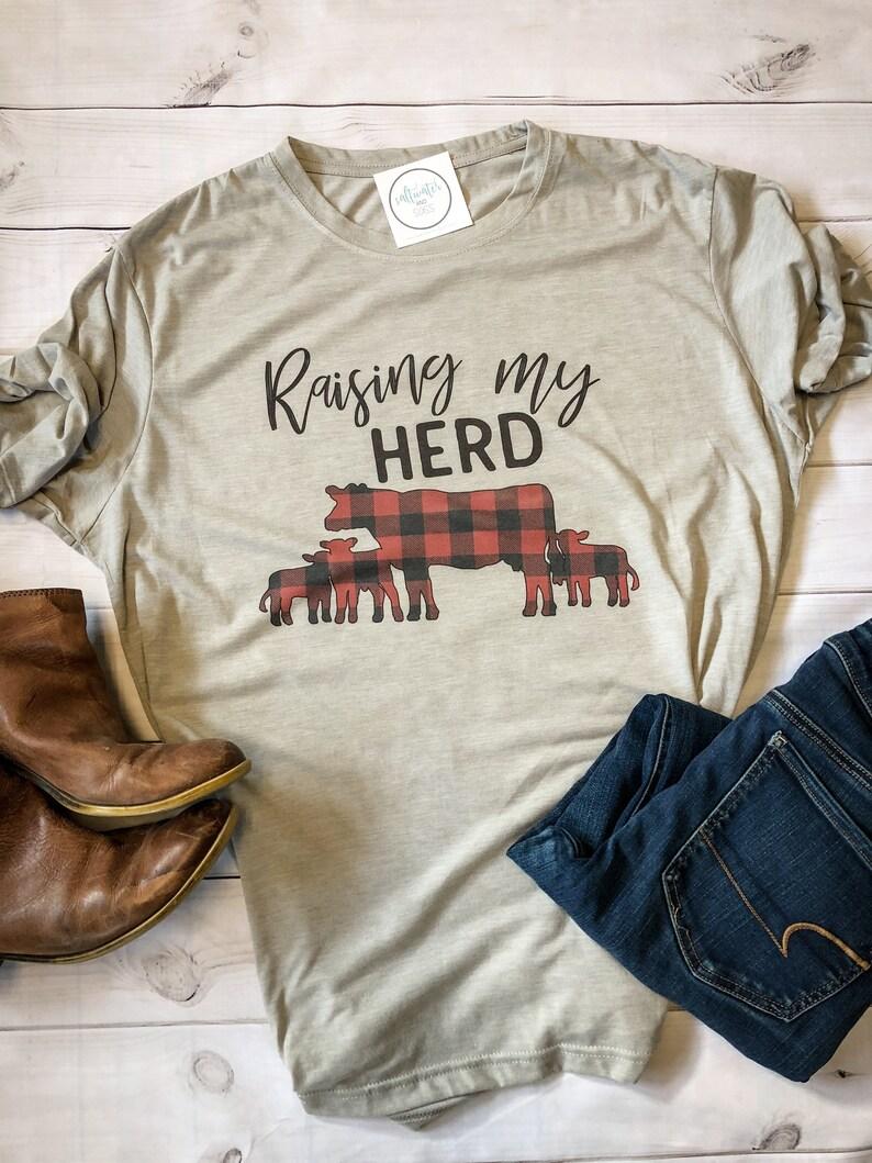cea40cd3a77101 Raising my Herd Shirt Mom Shirt Mom Tshirt Buffalo Plaid | Etsy