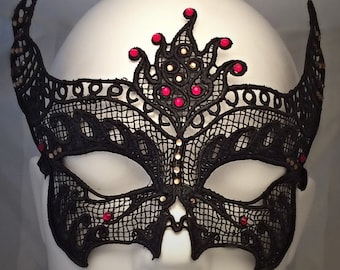Black lace, masquerade mask with red and white diamantés
