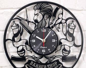 BARBERSHOP CLOCK Vinyl Record Clock Barber gifts Hairdresser Wall Decor Vintage Art Decoration Barber Hair Salon Poster Pole Pin Signs Black
