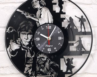 STAR WARS Vinyl Wall Clock Record Wall Clock Star War Wall Decor Star Wars Vinyl Art Home Decor for Living Room Star Wars Gift for Him Black