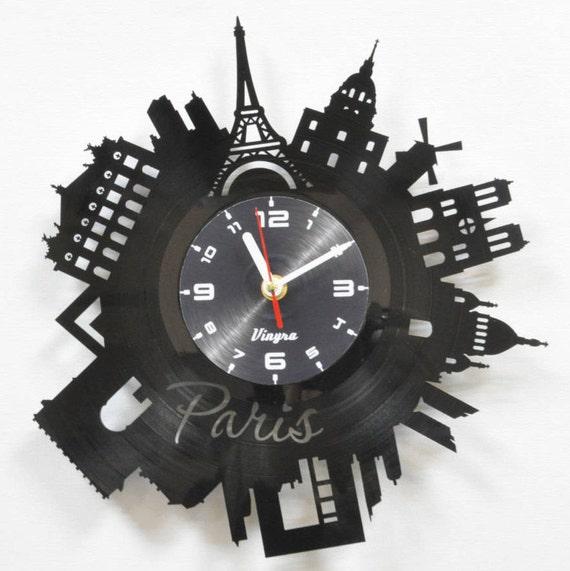 PARIS CLOCK Vinyl record Paris Wall Decor Eiffel Tower Wall | Etsy