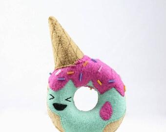 Ice Cream Donut / Donut / Felt Food / Soft Sculpture / Art Toy / Felt Toy