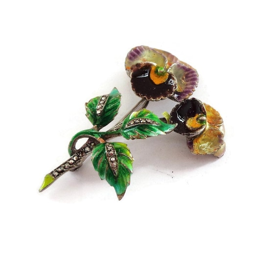 Enamel Pansy on Sterling Silver Brooch Pin - Germ… - image 4
