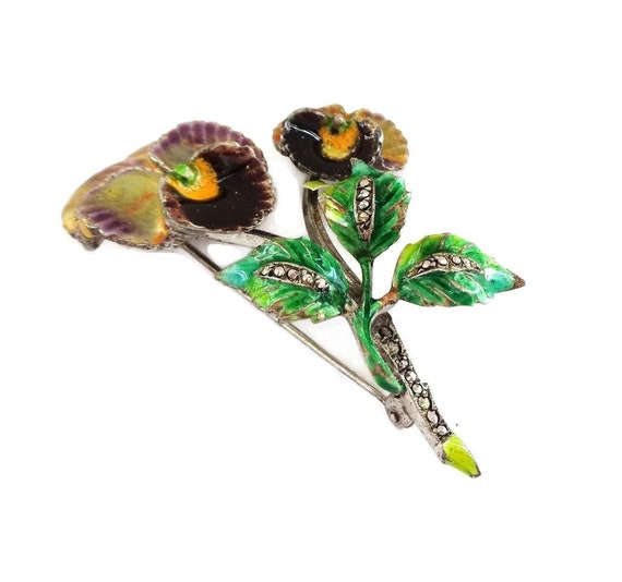 Enamel Pansy on Sterling Silver Brooch Pin - Germ… - image 2