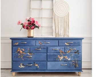 Vintage Dresser. Boho Chest of Drawers. Painted Blue Bird Dresser. Nature Themed Bedroom Furniture. Storage and Organization Chest