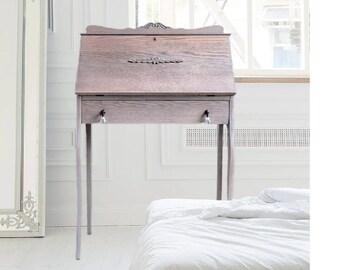 Antique Secretary Desk. Vintage Writing Desk. Farmhouse Drop Front Desk. French Country Drop Leaf Desk. Shabby Chic Homeschool Desk for Her