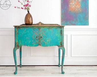 Boho Sideboard. Small Bohemian Buffet Cabinet. Colorful Painted Entryway Console. Southwestern Dining Room Server. Small Eclectic Console