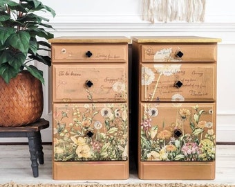 Tall Nightstand Pair. Farmhouse Bedside Tables. Floral Painted Bedroom Furniture. French Country Storage Chests. Nursery Furniture