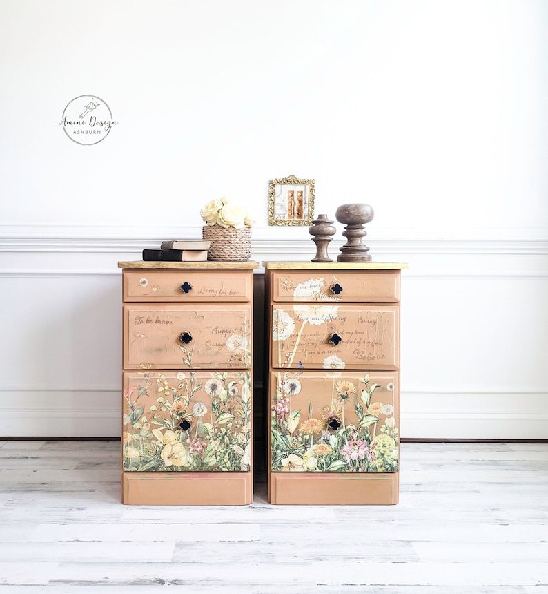 Tall Nightstands. Floral Chests. Chest of Drawers Bedroom image 0