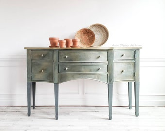Sideboard Buffet Cabinet. Modern Farmhouse Credenza. Dining Room Server. Entryway Media Console. Painted Refinished Furniture.