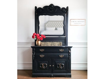Antique Dresser with Mirror. Eastlake Furniture. Victorian Chest of Drawers. Black Painted Washstand. Farmhouse Bedroom Storage.
