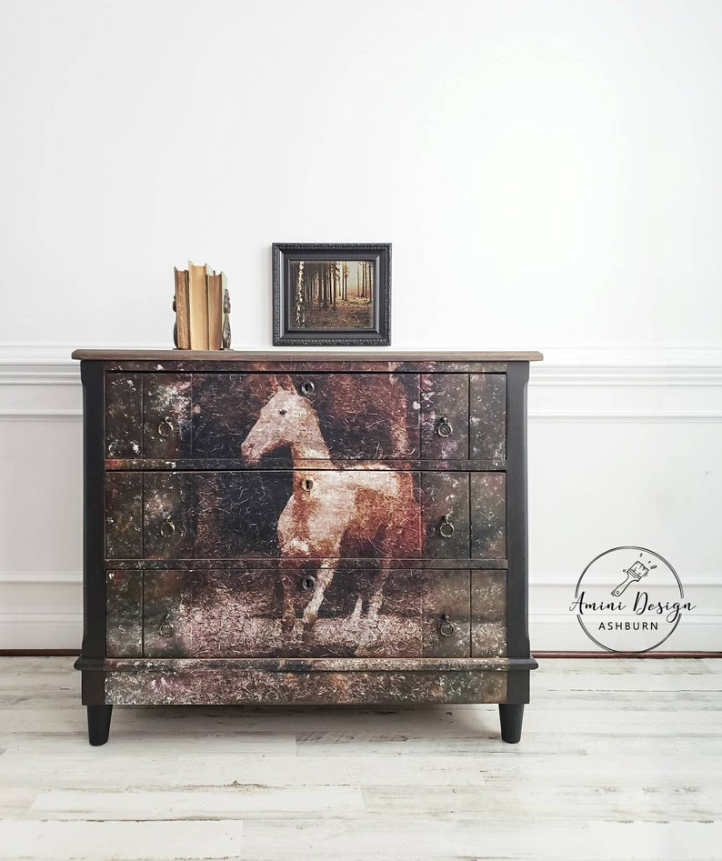 Antique Dresser. Chest of Drawers. Black Farmhouse Table. image 0