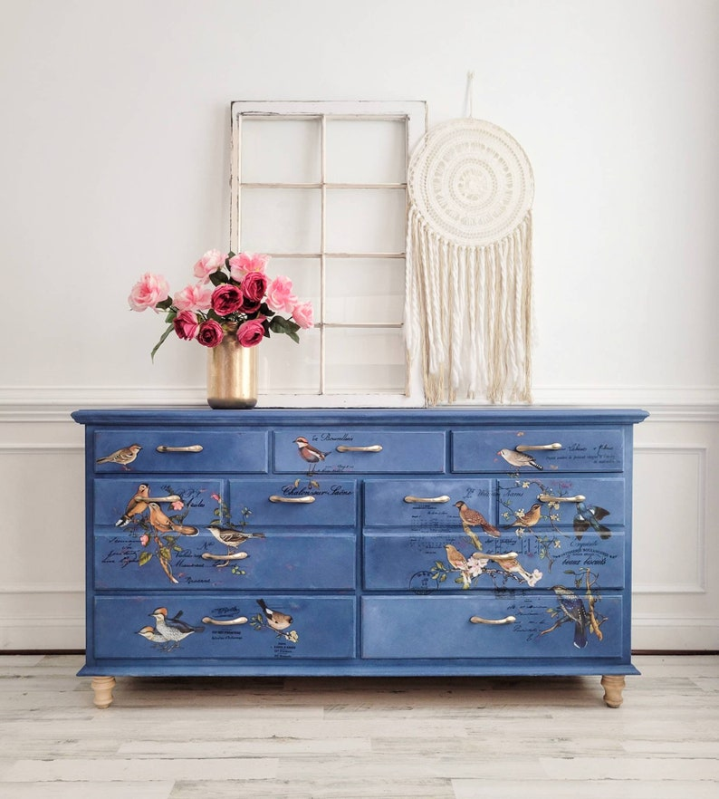 Bedroom Dresser. Aviary Dresser. Chest of Drawers. Painted image 0