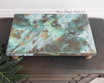 Large wood riser, patina, boho, industrial table pedestal decor, housewarming gift, welcome present