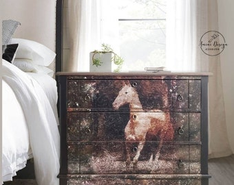 Antique Dresser. Chest of Drawers. Black Farmhouse Table. Accent Chest. Painted Bedroom Dresser. Horse Dresser. Country. Painted Furniture