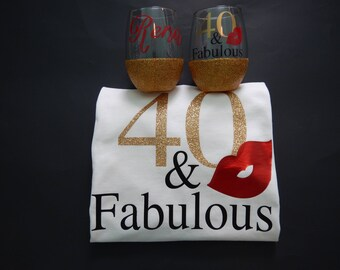 and fabulous birthday gift set ( 2 glitter dipped glasses and 1 shirt)