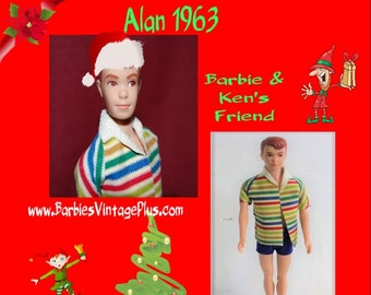 Vintage 1963 Alan Doll from Barbie Family, In the original box and original clothing , In excellent condition W FREE SHIPPING