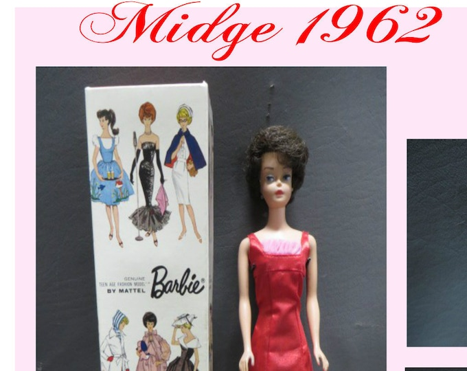 Barbie-  Midge Brunette Bubble Cut Stock 850 Boxed 023 1962 , In Excellent Condition, With Red Dress Pink Ruffle, With Reduced Shipping