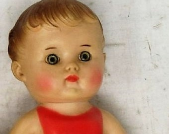 Vintage Baby Doll made by Sun Rubber Co from 1956, With Red Painted Clothing, In Great Condition , Reduced Shipping