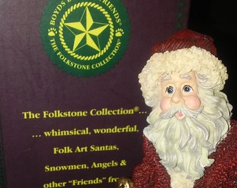 "Jolly Ol' St. Nick "" Too Many Cookies "" Figurine by Boyds Bears, In the original Box, Like New, Retired Figurine, Really Cute Santa ."