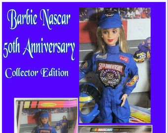 Fathers Day Gift,  Barbie Nascar 50th Anniversary Collector Edition in original unopened box, In Excellent Condition, With Reduced Shipping