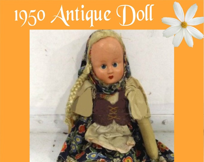 1950 Rag Doll from Polland in Excellent Used Condition, Original Authentic Doll, with Reduced Shipping