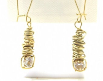 Women's Designer Ear Rings, Dangle Twisted Wire with Clear Stone, Gold tone Dangle , Perfect Valentines Day Gift, Reduced Shipping