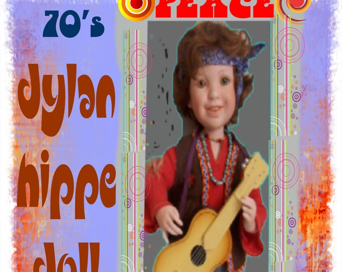 Dylan, A Hippie from the 70's  Porcelin Doll by Danbury Mint- in Original Box-  Collectable and Rare- With Reduced Shipping,Fathers Day Gift
