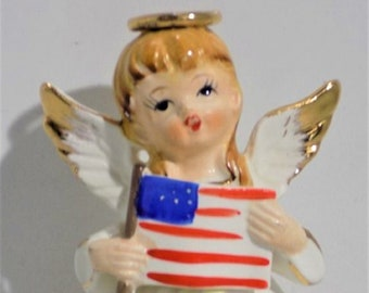 Vintage 4th of July Angel Figurine, Made in Japan,  Excellent Condition , With Free Shipping