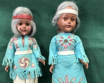American Indian Doll Set made by Vintage Company 1950, Dolls with Gray Hair , In Excellent used condition, With Reduced Shipping
