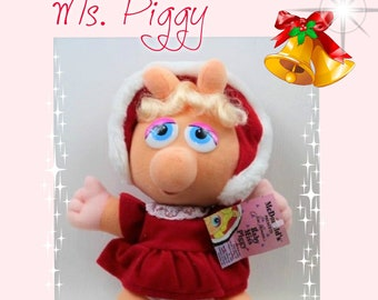 1988 Ms. Piggy Christmas Muppet Baby from McDonalds  , Original Ms. Piggy is wearing her Christmas outfit complet with hat and original tag